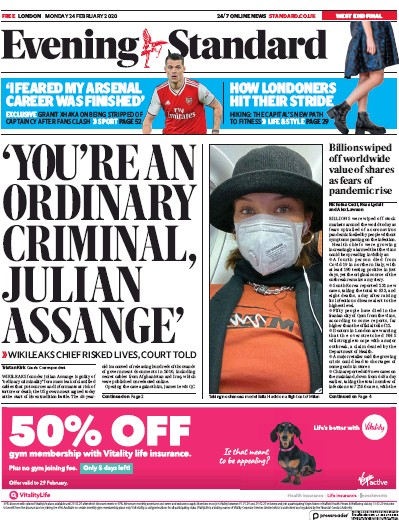 London Evening Standard Newspaper Front Page (UK) for 25 February 2020