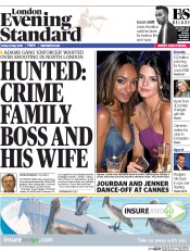 London Evening Standard (UK) Newspaper Front Page for 25 May 2015