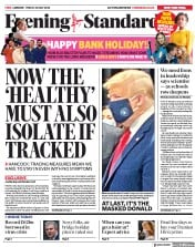 London Evening Standard front page for 25 May 2020