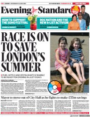 London Evening Standard front page for 25 June 2020