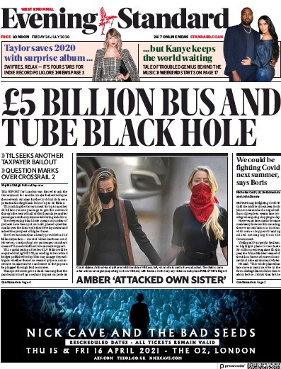 London Evening Standard Newspaper Front Page (UK) for 25 July 2020