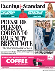 London Evening Standard (UK) Newspaper Front Page for 25 September 2018