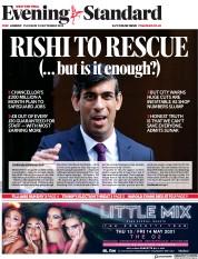 London Evening Standard (UK) Newspaper Front Page for 25 September 2020