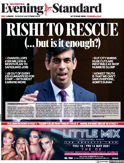 London Evening Standard Newspaper Front Page (UK) for 25 September 2020