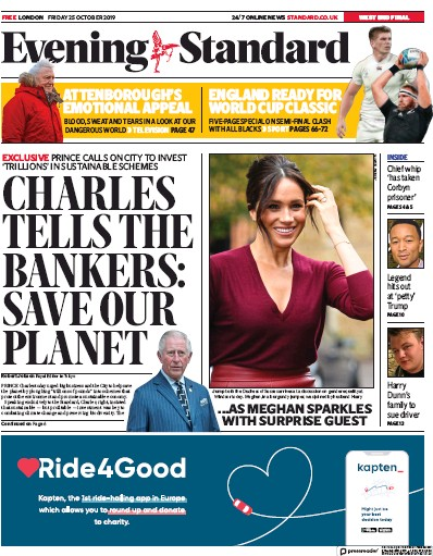 London Evening Standard Newspaper Front Page (UK) for 26 October 2019