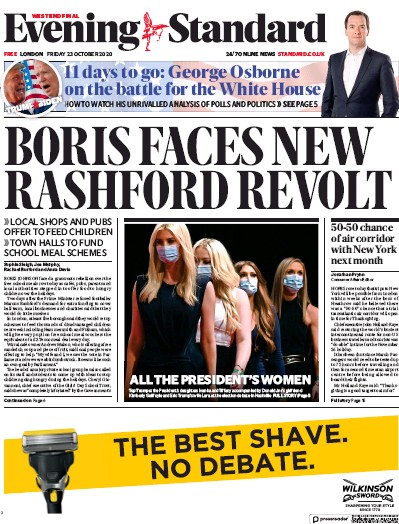 London Evening Standard Newspaper Front Page (UK) for 26 October 2020
