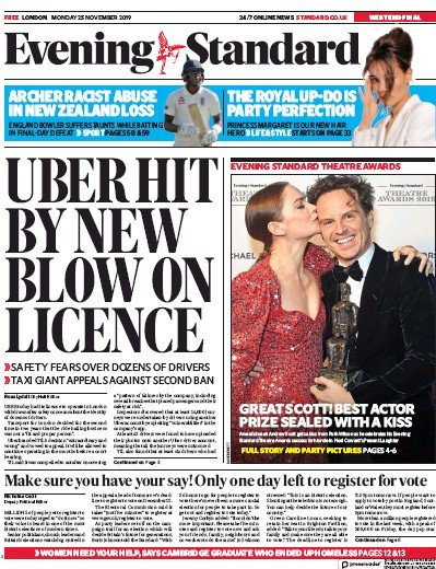 London Evening Standard Newspaper Front Page (UK) for 26 November 2019