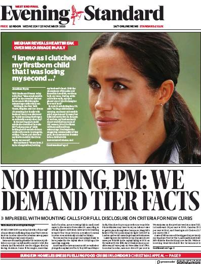 London Evening Standard Newspaper Front Page (UK) for 26 November 2020