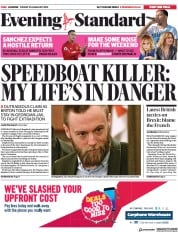 London Evening Standard () Newspaper Front Page for 26 January 2019