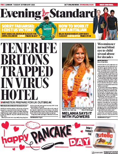 London Evening Standard Newspaper Front Page (UK) for 26 February 2020