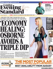 London Evening Standard () Newspaper Front Page for 26 April 2013