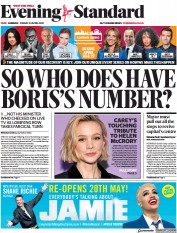 London Evening Standard () Newspaper Front Page for 26 April 2021