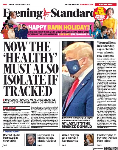 London Evening Standard Newspaper Front Page (UK) for 26 May 2020