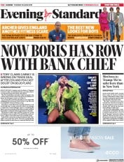 London Evening Standard (UK) Newspaper Front Page for 26 June 2019