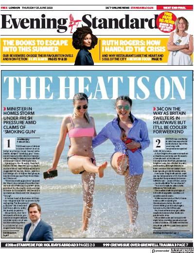 London Evening Standard Newspaper Front Page (UK) for 26 June 2020