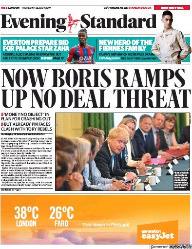 London Evening Standard Newspaper Front Page (UK) for 26 July 2019