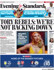 London Evening Standard () Newspaper Front Page for 26 August 2019