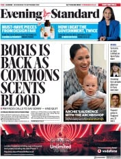 London Evening Standard (UK) Newspaper Front Page for 26 September 2019