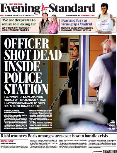 London Evening Standard Newspaper Front Page (UK) for 26 September 2020