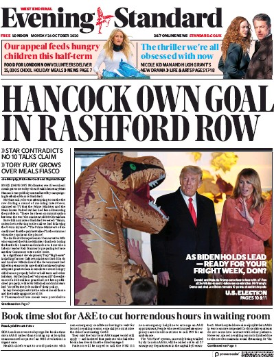 London Evening Standard Newspaper Front Page (UK) for 27 October 2020