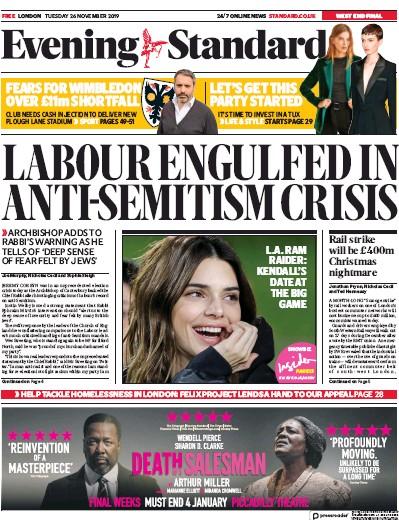 London Evening Standard Newspaper Front Page (UK) for 27 November 2019