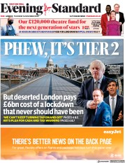 London Evening Standard front page for 27 November 2020
