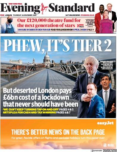 London Evening Standard Newspaper Front Page (UK) for 27 November 2020