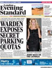 London Evening Standard () Newspaper Front Page for 27 January 2012