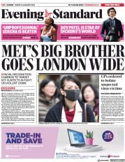 London Evening Standard (UK) Newspaper Front Page for 27 January 2020