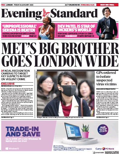 London Evening Standard Newspaper Front Page (UK) for 27 January 2020