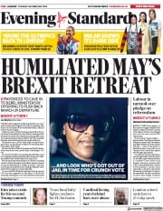 London Evening Standard (UK) Newspaper Front Page for 27 February 2019