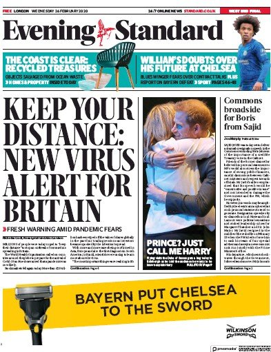 London Evening Standard Newspaper Front Page (UK) for 27 February 2020