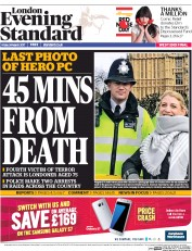 London Evening Standard (UK) Newspaper Front Page for 27 March 2017
