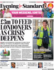 London Evening Standard (UK) Newspaper Front Page for 27 April 2020