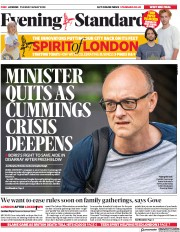 London Evening Standard (UK) Newspaper Front Page for 27 May 2020