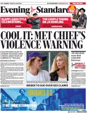 London Evening Standard front page for 27 June 2020