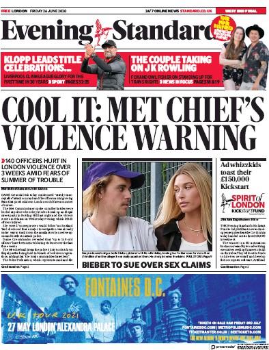 London Evening Standard Newspaper Front Page (UK) for 27 June 2020