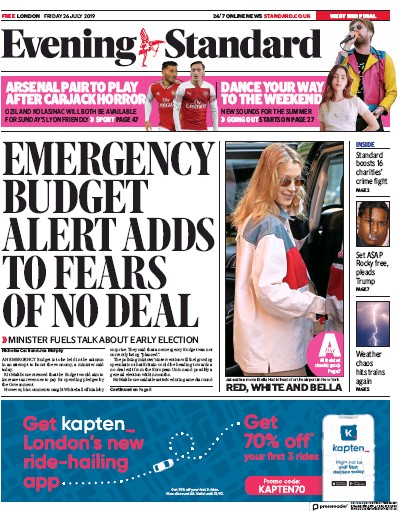 London Evening Standard Newspaper Front Page (UK) for 27 July 2019