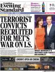 London Evening Standard (UK) Newspaper Front Page for 27 August 2015
