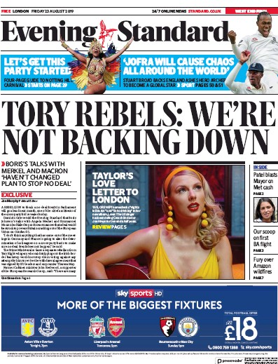 London Evening Standard Newspaper Front Page (UK) for 27 August 2019