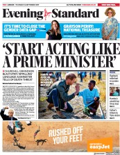 London Evening Standard (UK) Newspaper Front Page for 27 September 2019