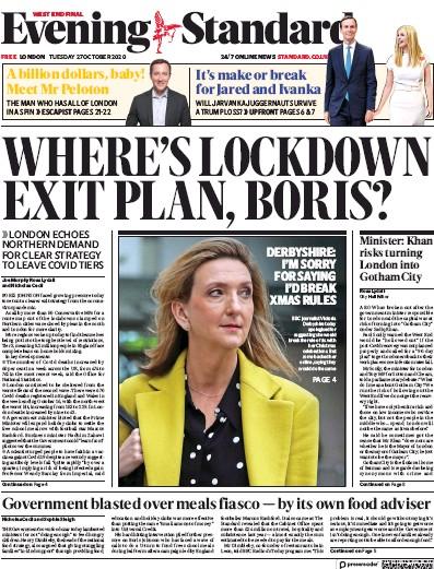 London Evening Standard Newspaper Front Page (UK) for 28 October 2020