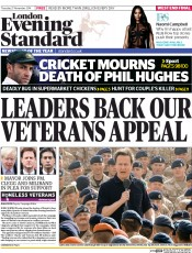 London Evening Standard (UK) Newspaper Front Page for 28 November 2014