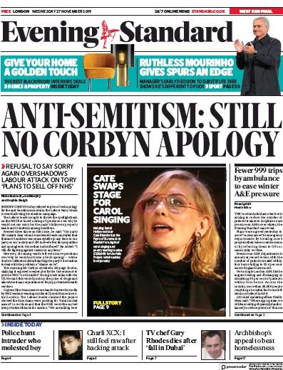 London Evening Standard Newspaper Front Page (UK) for 28 November 2019
