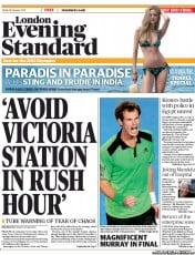 London Evening Standard Newspaper Front Page (UK) for 28 January 2011