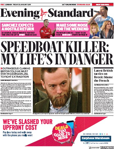 London Evening Standard Newspaper Front Page (UK) for 28 January 2019