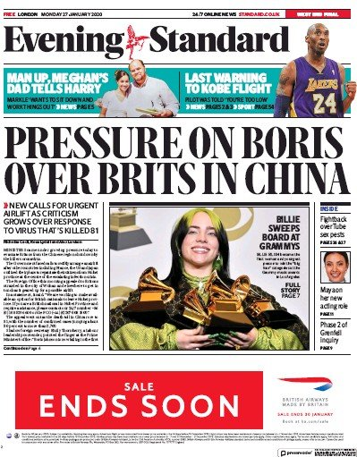 London Evening Standard Newspaper Front Page (UK) for 28 January 2020