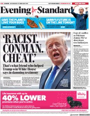 London Evening Standard (UK) Newspaper Front Page for 28 February 2019