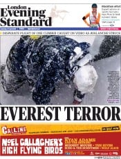 London Evening Standard (UK) Newspaper Front Page for 28 April 2015