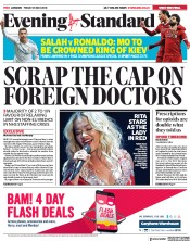 London Evening Standard (UK) Newspaper Front Page for 28 May 2018